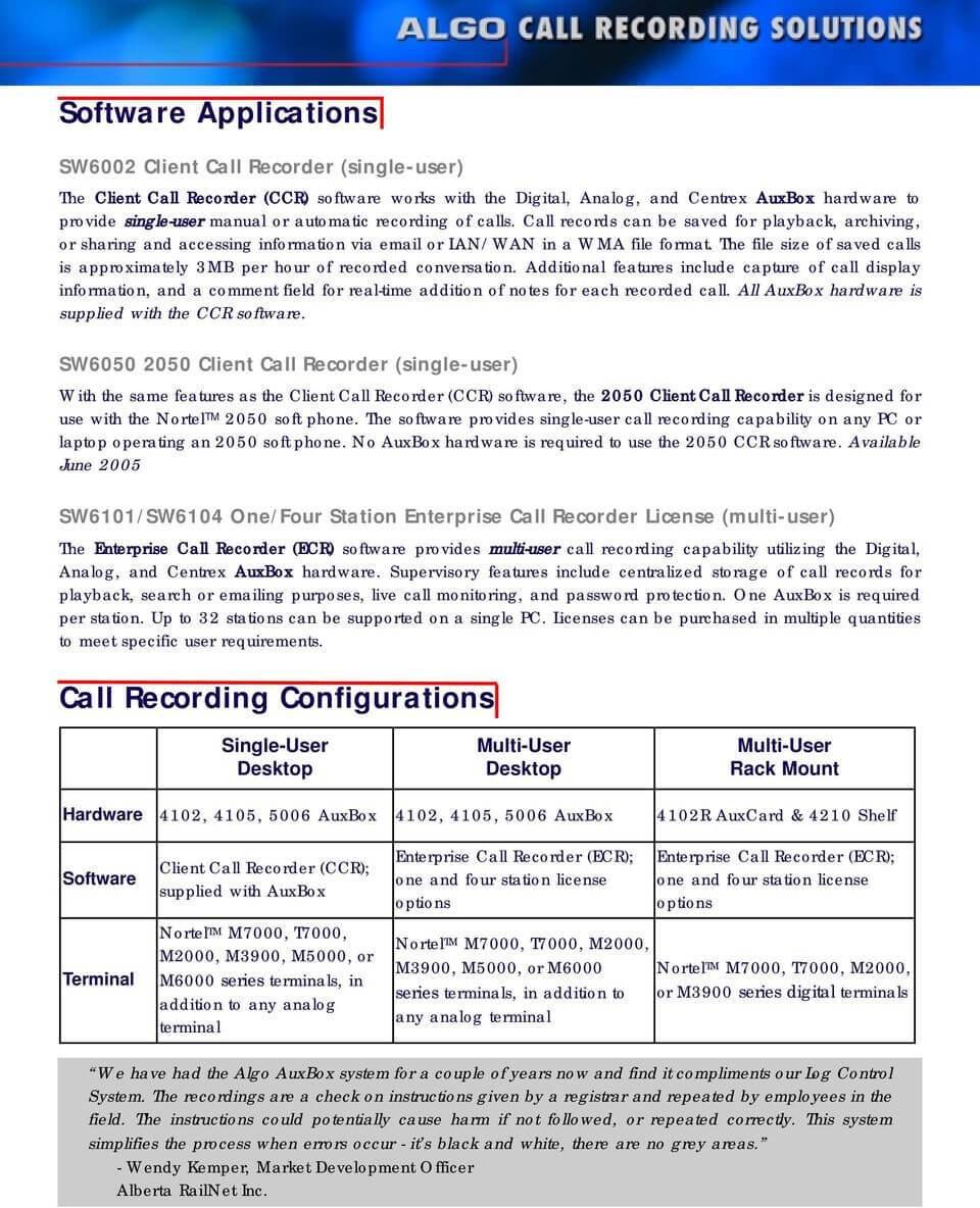 Algo Enterprise Call Recorder (ECR) Software