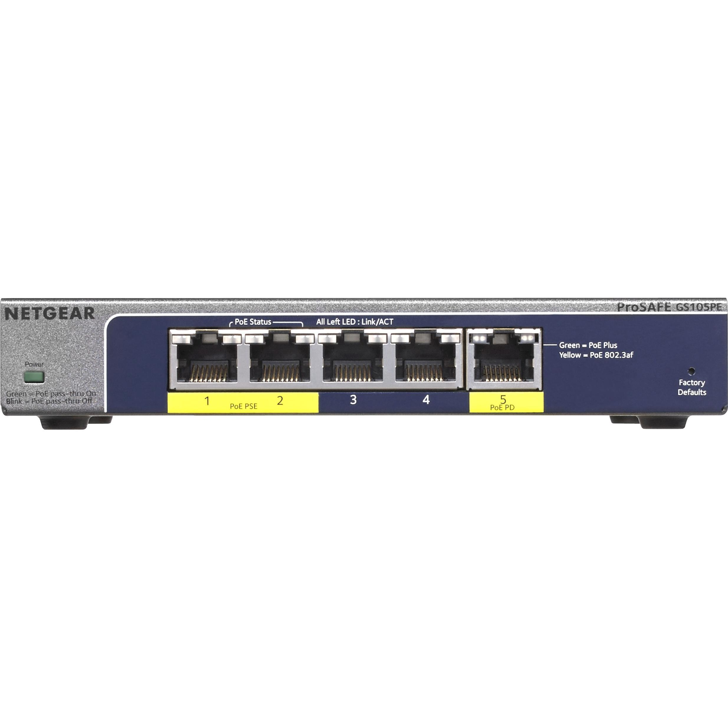 Netgear ProSafe GS105PE 5 Port Gigabit Ethernet Switch